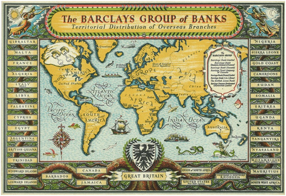 Advertising map showing Barclays' presence overseas, 1946