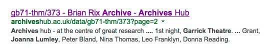 Archives Hub search result from a Google search