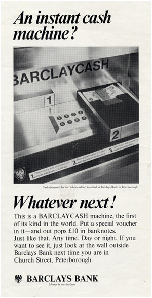 Cash dispenser advert, 1967
