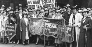Image of National Association for spinsters' pensions London rally from the papers of Florence White, part of History to Herstory. Image ref 78D86/4/3, courtesy of WYAS Bradford